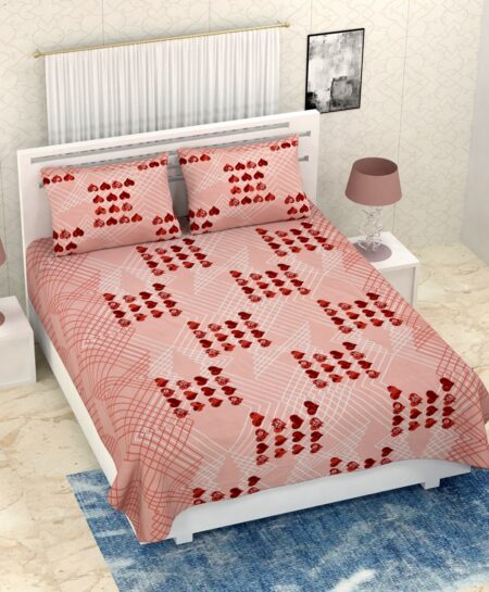 Pure Cotton Brown Heart Double Bedsheet + AC Comforter Set Bedsheet with Pillow