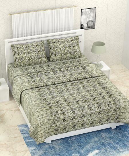 Pure Cotton Green Zigzag Print Double Bedsheet + AC Comforter Set
