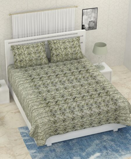 Pure Cotton Green Zigzag Print Double Bedsheet + AC Comforter Set Bedsheet with Pillow