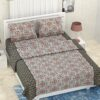 Pure Cotton Grey Rangoli Print Double Bedsheet + AC Comforter Set