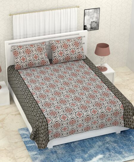 Pure Cotton Grey Rangoli Print Double Bedsheet + AC Comforter Set Bedsheet View