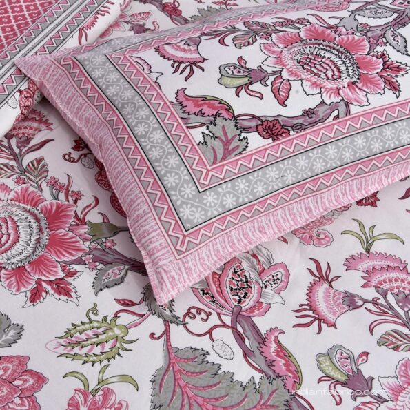 Pure Cotton Pink Flowers Double Bedsheet Closeup