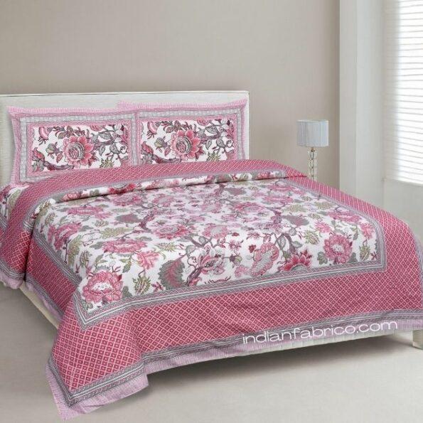 Pure Cotton Pink Flowers Double Bedsheet + Dohar Set
