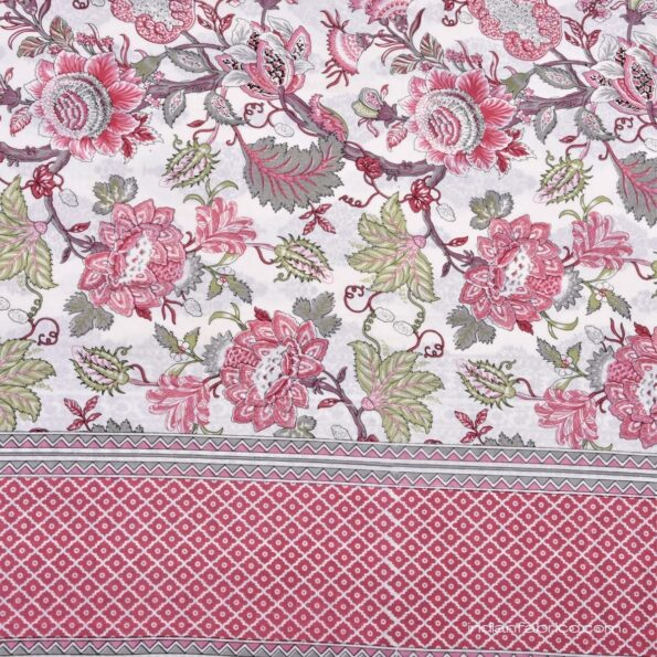 Pure Cotton Pink Flowers Double Bedsheet Sideview