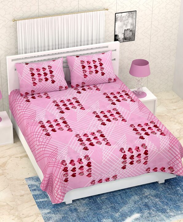 Pure Cotton Pink Heart Double Bedsheet + AC Comforter Set Bedsheet View