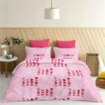 Pure Cotton Pink Heart Double Bedsheet + AC Comforter Set View