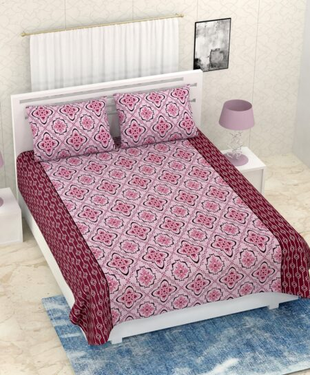 Pure Cotton Pink Rangoli Print Double Bedsheet + AC Comforter Set Bedsheet with Pillow