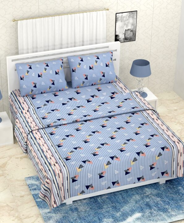 Pure Cotton Polygon Blue Print Double Bedsheet + AC Comforter Set