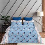 Pure Cotton Polygon Blue Print Double Bedsheet + AC Comforter Set Bedsheet View