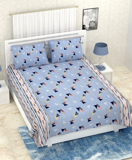 Pure Cotton Polygon Blue Print Double Bedsheet + AC Comforter Set Bedsheet with Pillow