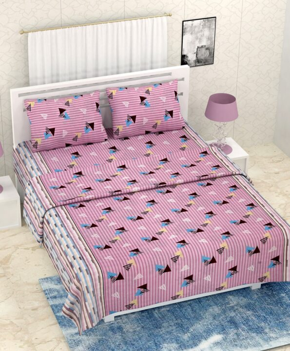 Pure Cotton Polygon Pink Print Double Bedsheet + AC Comforter Set