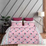 Pure Cotton Polygon Pink Print Double Bedsheet + AC Comforter Set Bedsheet View
