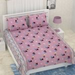 Pure Cotton Polygon Pink Print Double Bedsheet + AC Comforter Set Bedsheet with Pillow