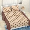 Pure Cotton Retro Cream Floral Print Double Bedsheet + AC Comforter Set