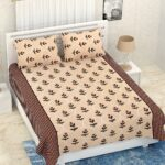 Pure Cotton Retro Cream Floral Print Double Bedsheet + AC Comforter Set Bedsheet with Pillow