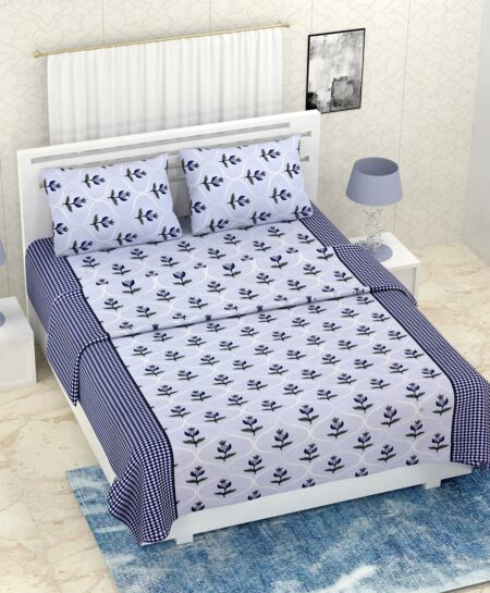 Pure Cotton Retro Grey Blue Floral Print Double Bedsheet + AC Comforter Set