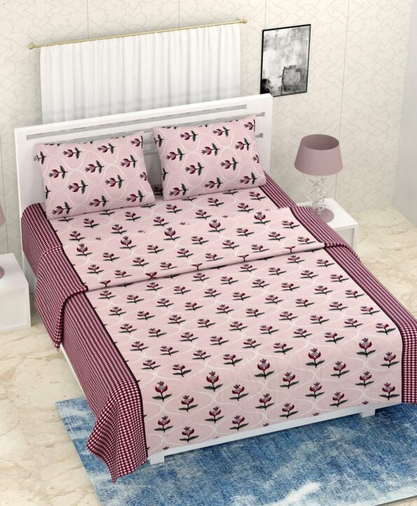 Pure Cotton Retro Light Pink Floral Print Double Bedsheet + AC Comforter Set