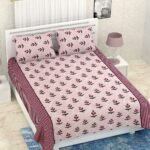 Pure Cotton Retro Light Pink Floral Print Double Bedsheet + AC Comforter Set Bedsheet View
