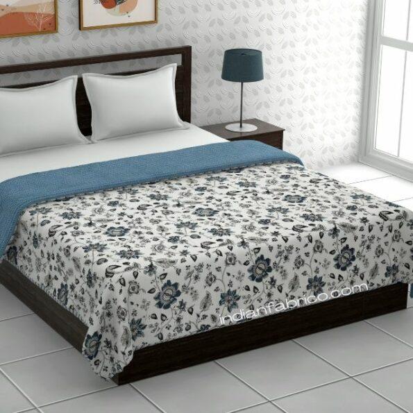 Pure Mulmul Cotton Blue Floral Pattern Reversible Double Bed Dohar