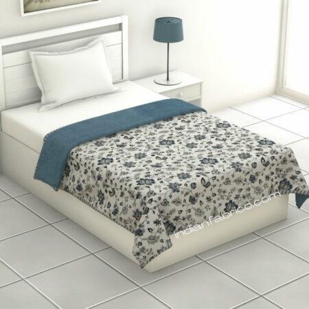 Pure Mulmul Cotton Blue Floral Pattern Reversible Single Bed Dohar