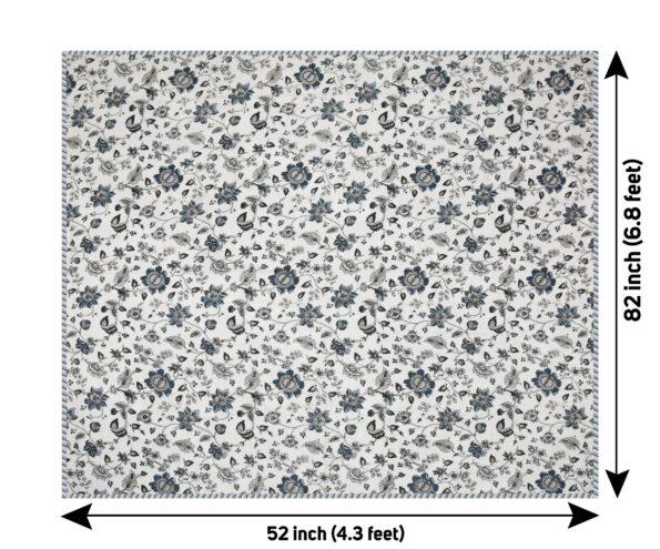 Pure Mulmul Cotton Blue Floral Pattern Reversible Single Bed Dohar Fullview