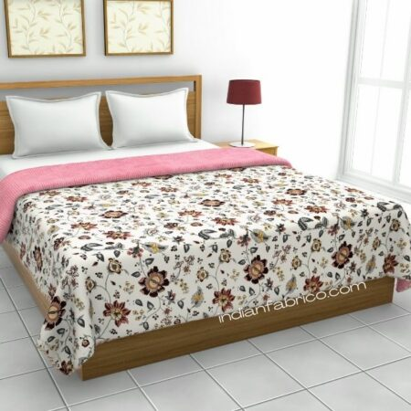 Pure Mulmul Cotton Red Floral Pattern Reversible Double Bed Dohar