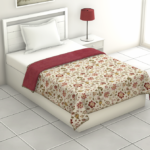 Pure Mulmul Cotton Red Floral Pattern Reversible Single Bed Dohar