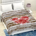 Pure Mulmul Cotton Romania Wooden Floral Print Reversible Double Bed Dohar