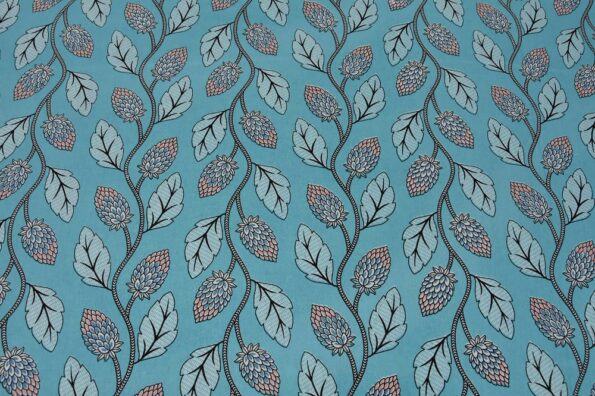 Sky Blue Color Leaf Pattern Double Bedsheet Closeup
