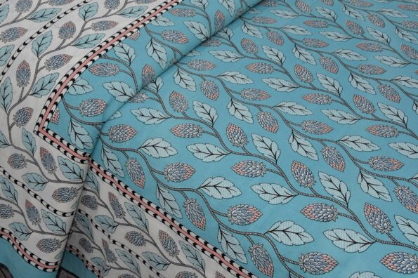Sky Blue Color Leaf Pattern Double Bedsheet Sideview