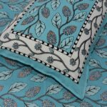 Sky Blue Color Leaf Pattern Double Bedsheet with Two Pillow Cover