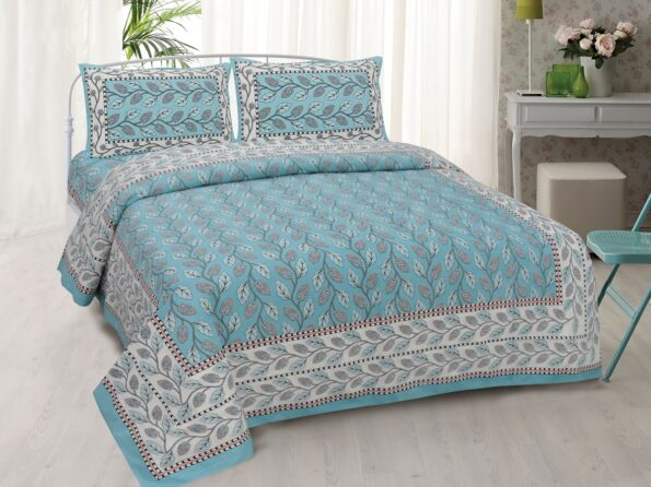 Sky Blue Color Leaf Pattern Double Bedsheet with Two Pillow Covers