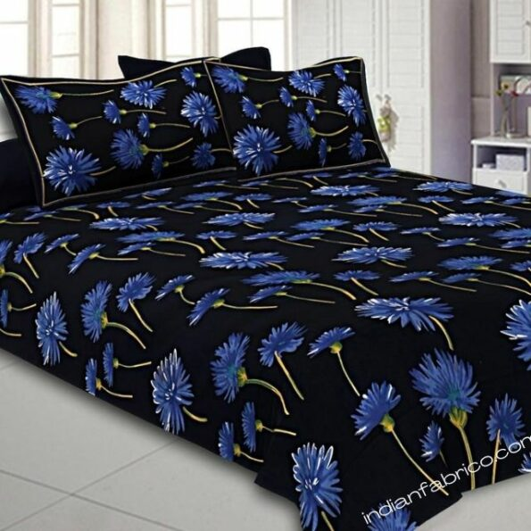 Sun Flower Black Base Double Bedsheet With 2 Pillow Covers