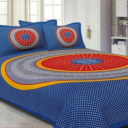 Traditional Sanganeri Bandhej Print Blue Color King Size Pure Cotton Double Bedsheet View