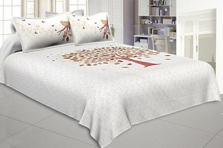 White Base Chocolate Brown Spring Tree Cotton King Size Double Bedsheet
