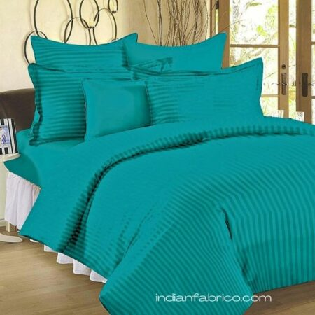 Aqua Turquoise Satin Pure Cotton King Size Bedsheet with 2 Pillow Covers
