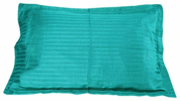 Aqua Turquoise Satin Pure Cotton King Size Bedsheet Pillow Covers