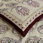 Beautiful Brown Base Seashell Print King Size Double Bedsheet Closeup