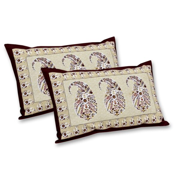 Beautiful Brown Base Seashell Print King Size Double Bedsheet Pillow Covers