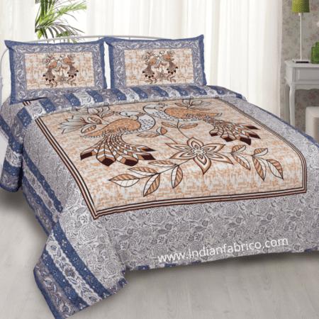 Beautiful Jalpari Bird Print Double Bedsheet