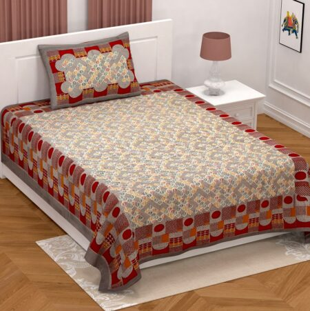 Brown Base Leaf Pattern Giza Cotton Single Bed sheet with One Pillow Cover
