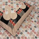 Brown Base Leaf Pattern Giza Cotton Single Bed sheet with One Pillow Covers