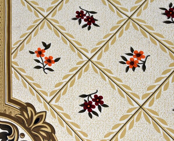Cream Brown Floral Single Bedsheet Closeup