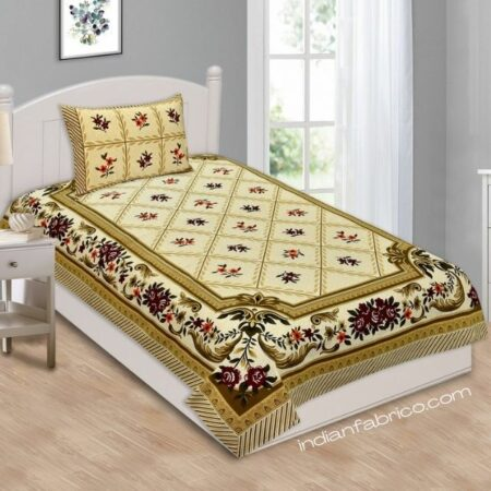 Cream Brown Floral Single Bedsheet with One Pillow Cover