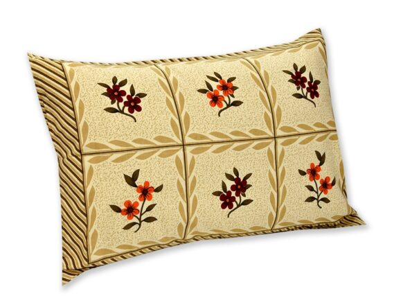 Cream Brown Floral Single Bedsheet with one Pillow Covers