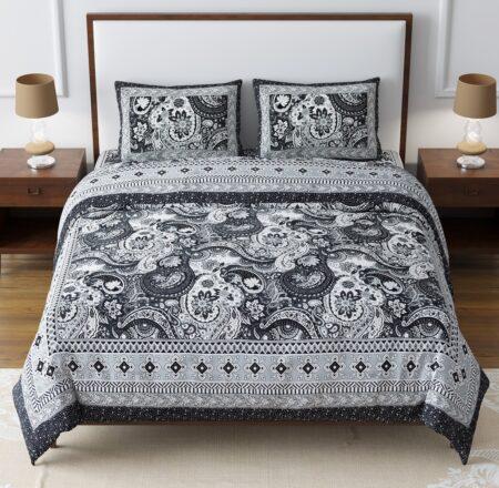 Dark Black Beautiful Floral Print King Size Bedsheet