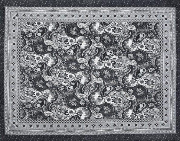 Dark Black Beautiful Floral Print King Size Bedsheet Full View