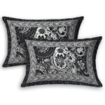 Dark Black Beautiful Floral Print King Size Bedsheet Pillow Cover