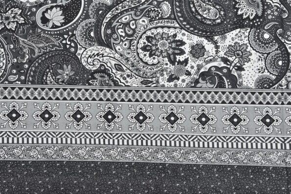 Dark Black Beautiful Floral Print King Size Bedsheet Side View