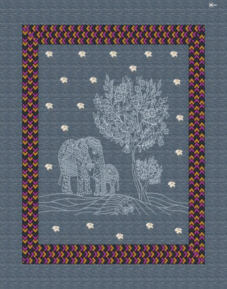Dark Blue Giza Cotton Animal Print Single Bedsheet Closeup